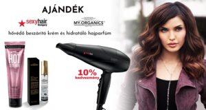 A Sexy Hair Style Lock Pro hajszárító karácsonyig 10% kedvezménnyel + ajándék Sexy Hair hővédő spray + My.Organics hajparfüm. Összesen 11.990 Ft értékű ajándék.